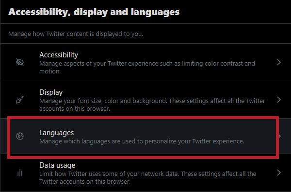4. Languagesをクリックします。
